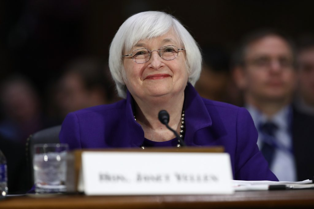 - janet yellen testifies senate committee 1024x683 - Dollar declines despite Fed's hint that rate hike will come 'fairly soon'